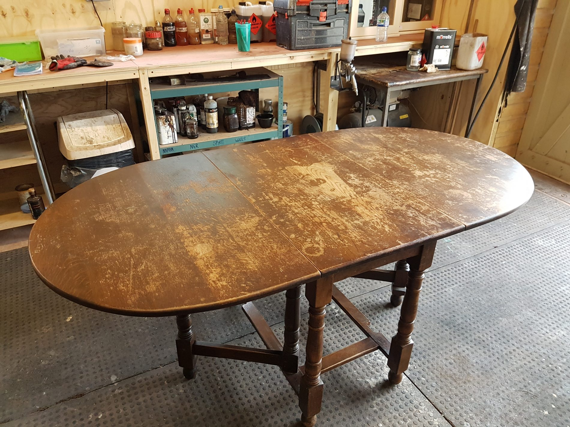 The complete refinish of Oak gateleg table. - Refinish Restore