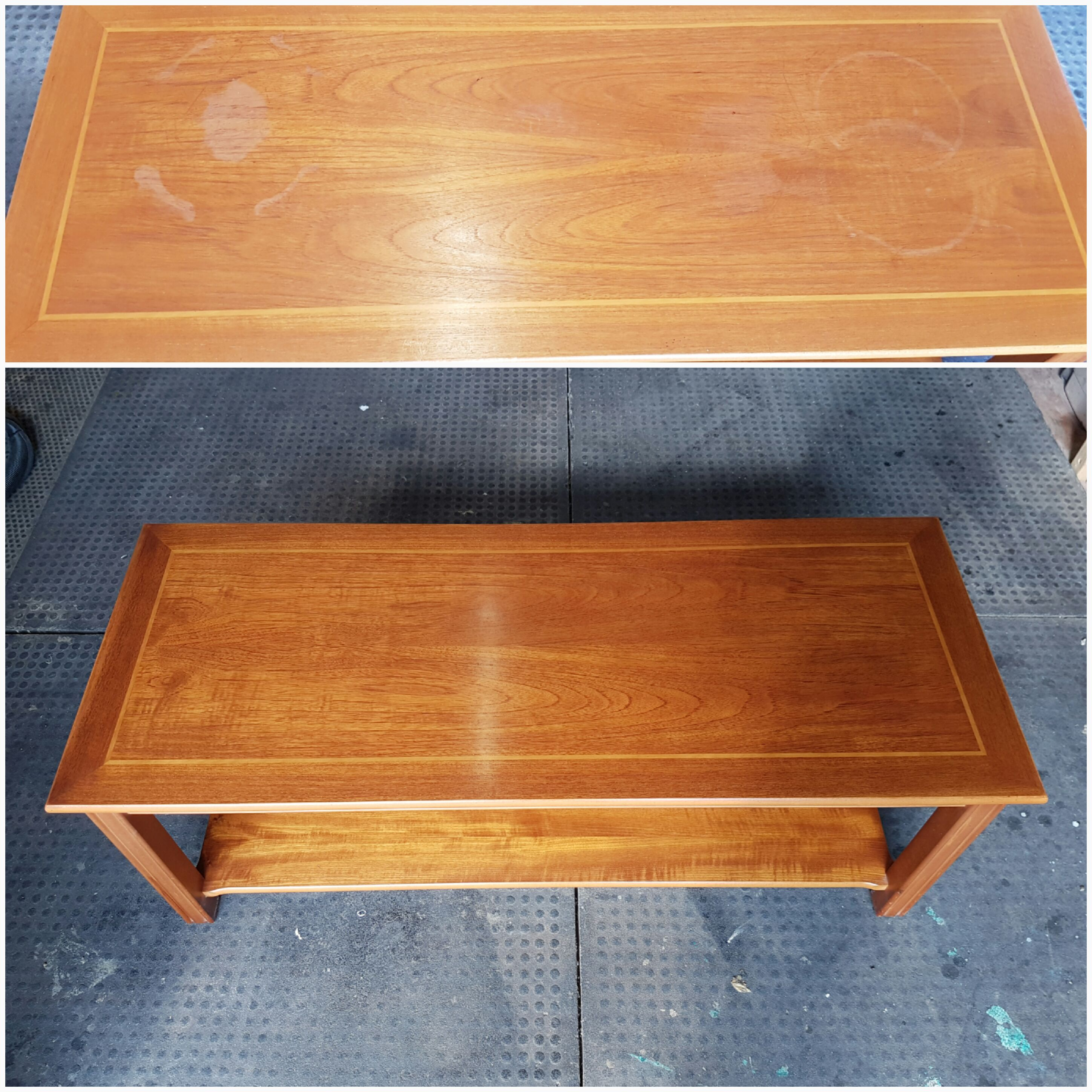 The Removal Of Water Heat Marks On A Teak Coffee Table Refinish Restore